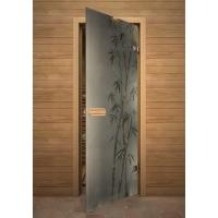 Дверь стеклянная с фьюзингом бамбук