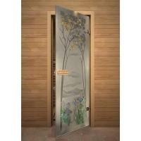 Дверь стеклянная с фьюзингом ирисы