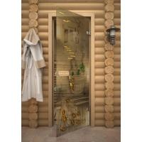 Дверь стеклянная с фьюзингом парилка
