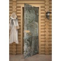 Дверь стеклянная с фьюзингом пейзаж