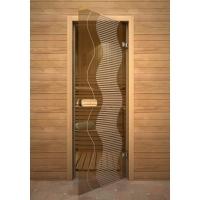 Дверь стеклянная с рисунком «Глассджет» Волна
